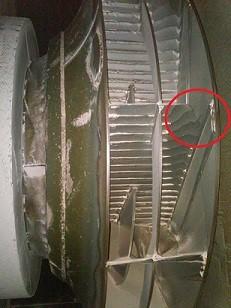 Hình ảnh cánh bị mài mòn dẫn đến phải sửa chữa và cân bằng động
